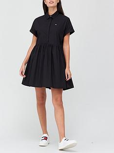 tommy-jeans-short-sleeve-shirt-dress-black