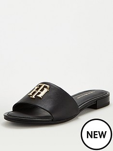 tommy-hilfiger-th-hardware-flat-mule-black