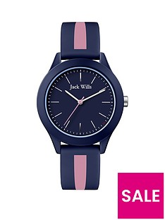 jack-wills-unisex-blue-dial-blue-and-pink-strip-strap-watch