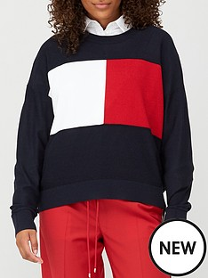tommy-hilfiger-icon-flag-crew-neck-sweater-navy