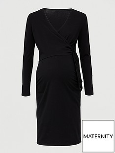 v-by-very-maternity-tie-wrap-nursingnbspdress-black