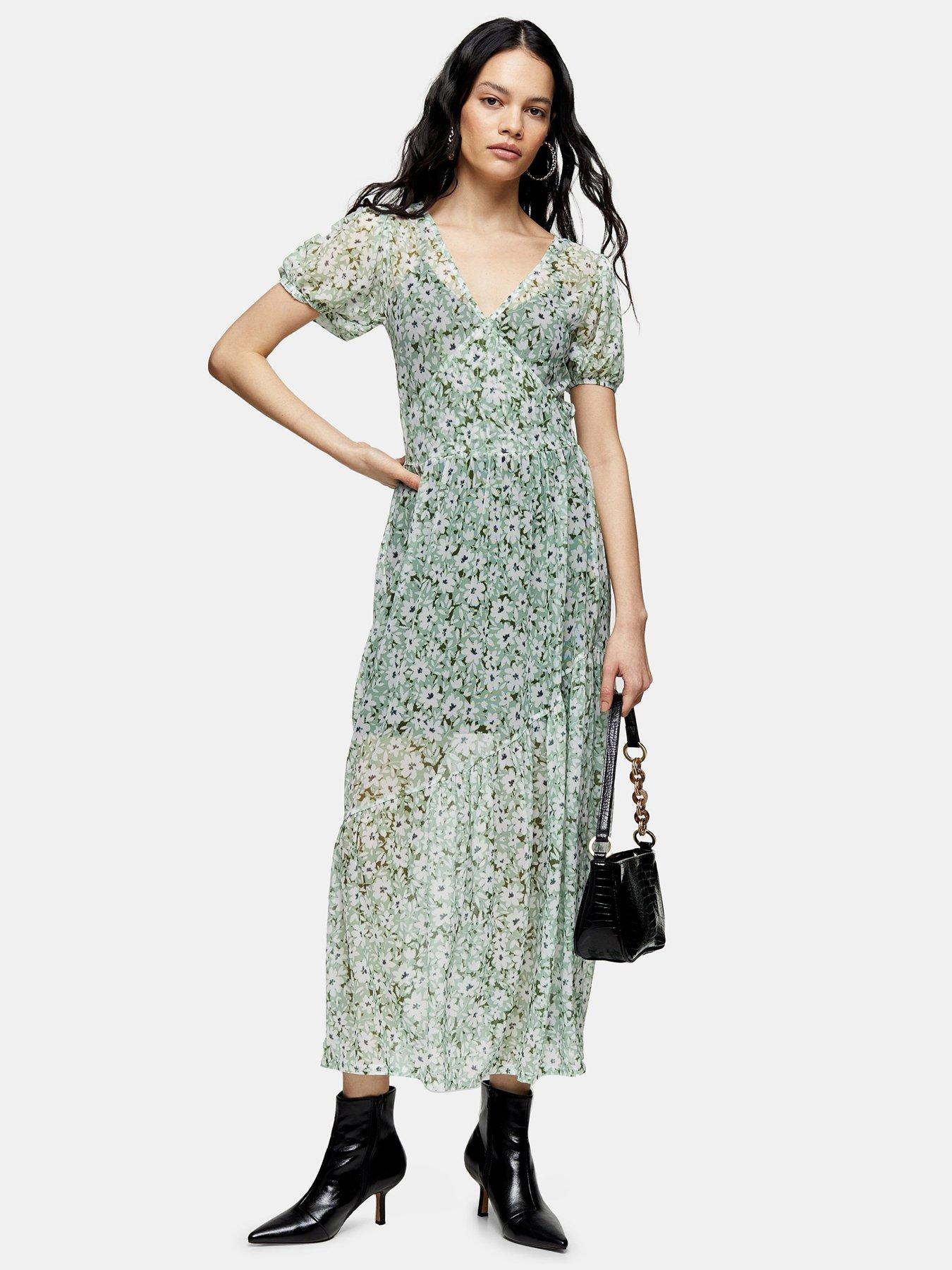 Tanming Womens Summer Splicing Chiffon Midi Dress with Belt