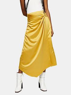 topshop-topshop-plain-satin-sarong-skirt-ochre