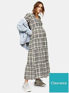 topshop-topshop-maternity-check-tiered-sqaure-neck-midi-smock-dress-green