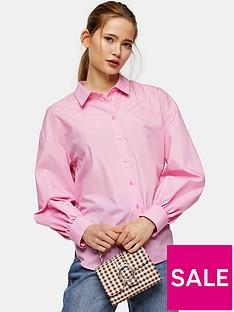 topshop-topshop-poplin-ruched-back-blouse-pink