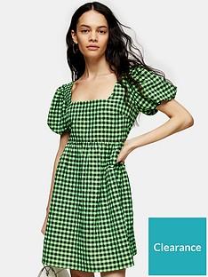 topshop-topshop-gingham-mini-dress-green