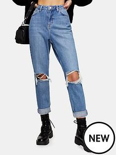 topshop-topshop-petite-28-double-rip-mom-jeans-blue