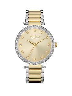 bulova-caravelle-gold-sunray-crystal-set-dial-two-tone-stainless-steel-bracelet-ladies-watch