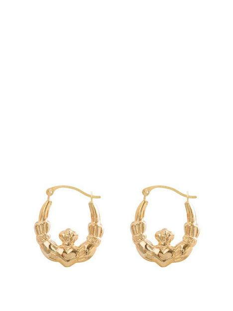 love-gold-9ct-gold-claddagh-creole-hoop-earrings