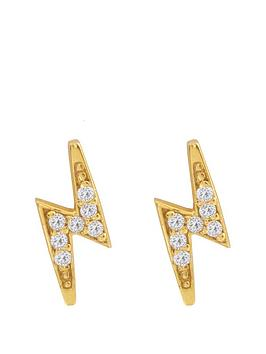 the-love-silver-collection-18ct-gold-plated-silver-lightning-bolt-cubic-zirconia-stud-earrings