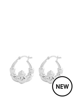 the-love-silver-collection-sterling-silver-thick-claddagh-heart-creole-hoop-earrings