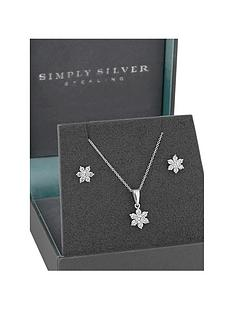 simply-silver-simply-silver-cubic-zirconia-flower-jewellery-set