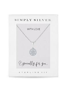 simply-silver-simply-silver-cubic-zirconia-pave-round-pendant-necklace