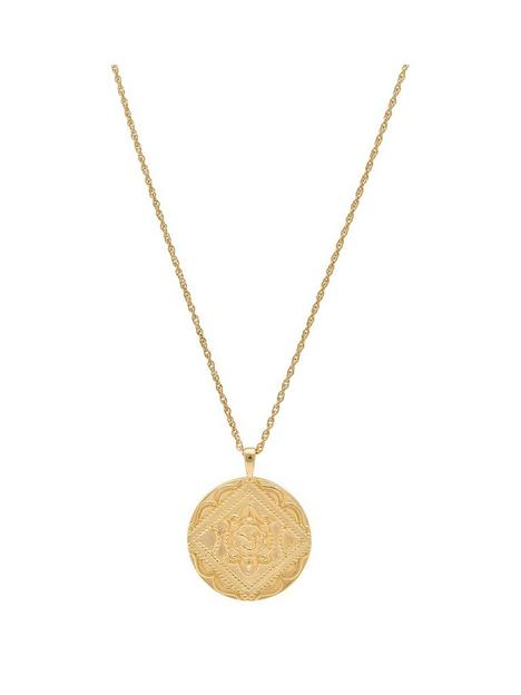 simply-silver-14ct-gold-plated-sterling-silver-embossed-round-pendant-necklace