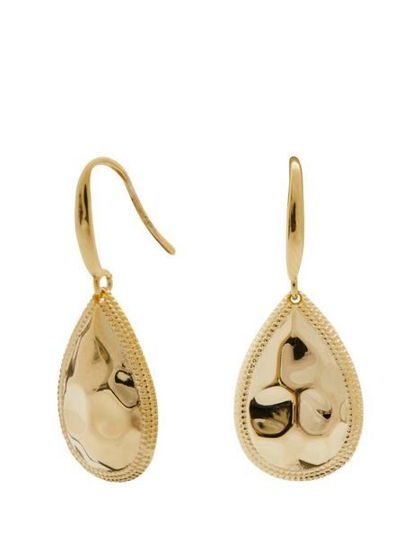 simply-silver-14ct-gold-plated-sterling-silver-beaded-edge-pear-drop-earrings