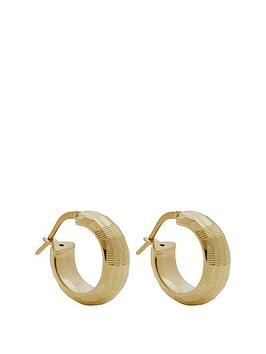 simply-silver-simply-silver-14ct-gold-plated-sterling-silver-diamond-cut-hoop-earrings