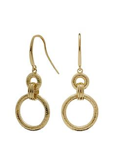 simply-silver-simply-silver-14ct-gold-plated-sterling-silver-textured-open-link-drop-earrings