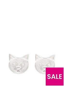 the-love-silver-collection-sterling-silver-cat-face-stud-earrings