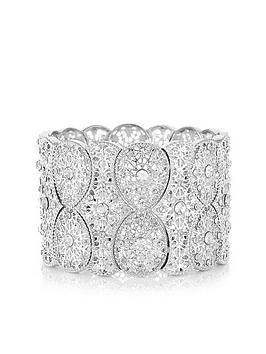 mood-silver-plated-filigree-statement-stretch-bracelet