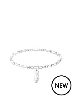 simply-silver-simply-silver-feather-bead-stretch-bracelet