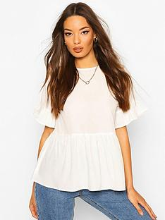 boohoo-cross-back-woven-smock-top-white