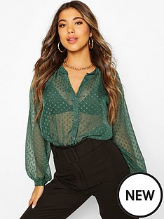 boohoo-dobby-mesh-button-down-shirt-green