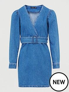 boohoo-boohoonbspbelted-wrap-balloon-sleeve-denim-dress-blue