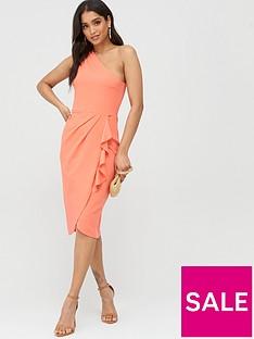 boohoo-boohoo-one-shoulder-ruffle-detail-midi-dress-coral