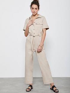 mint-velvet-button-through-short-sleevednbspboilersuit-camel