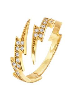 the-love-silver-collection-18ct-gold-plated-silver-lightning-bolt-cubic-zirconia-ring