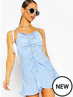 boohoo-boohoo-ruched-polka-dot-slip-dress-blue-white