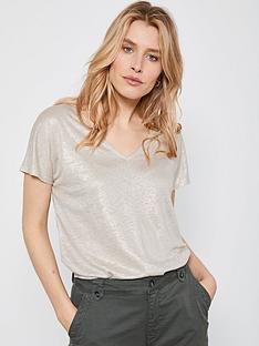 mint-velvet-shimmer-linen-t-shirt-gold