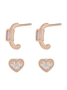 accessorize-z-x-2nbspbaguette-hoop-and-heart-stud-set-rose-gold
