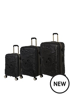 it-luggage-skulls-black-3pc-luggage-set