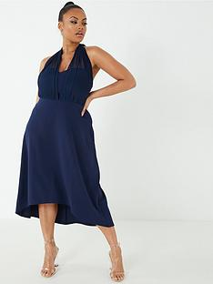 quiz-curve-mesh-halter-neck-dip-hem-dress-navy