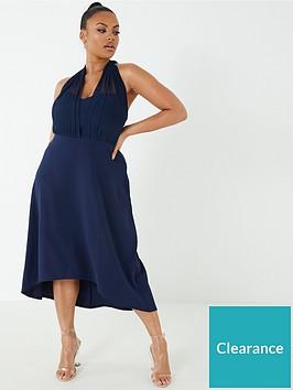 quiz-curve-mesh-halter-neck-dip-hem-dress-navy