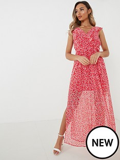 quiz-chiffon-ditsy-wrap-frill-tie-belt-maxi-dress-redwhite