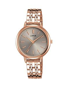 prod1089324489: Lorus Rose Gold Stainless Steel Grey Dial Womens Bracelet Watch
