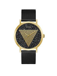 guess-guess-imprint-gold-and-black-glitz-logo-mens-mesh-strap-watch