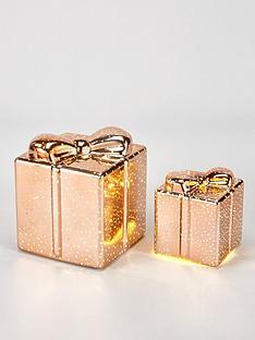 festive-set-of-2-glass-parcel-light-upnbspchristmas-decorations-rose-gold