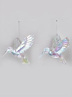 festive-set-of-2-iridescent-hummingbird-hanging-christmas-tree-decorations