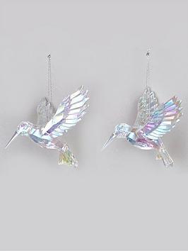 festive-set-of-2-iridescent-hummingbird-hanging-christmas-tree-decorations