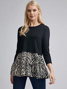 dorothy-perkins-dorothy-perkins-zebra-frill-hem-sleeve-top-black