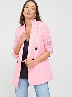 river-island-river-island-double-breasted-stripe-blazer-pink