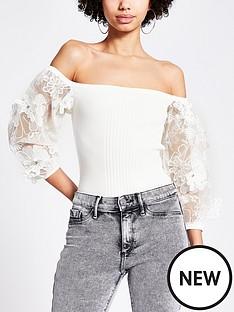 river-island-organza-puff-sleeve-knitted-bardot-top-white