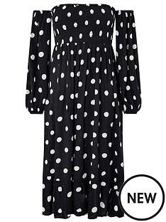 accessorize-puff-sleeve-midi-spot-print-dress-black