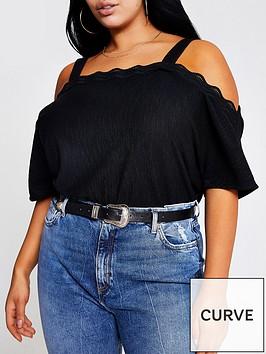 ri-plus-cold-shoulder-scallop-trim-jersey-top-black