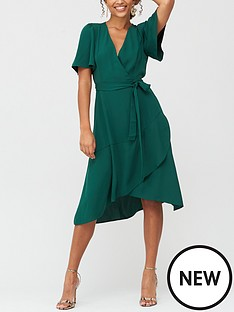 v-by-very-serena-ruffle-wrap-midi-dress-deep-green
