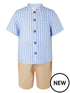 monsoon-boys-sonny-stripe-shirt-and-stone-short-set-blue