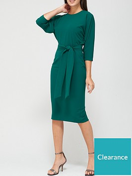 v-by-very-rosa-kimono-sleeve-fitted-dress-deep-green